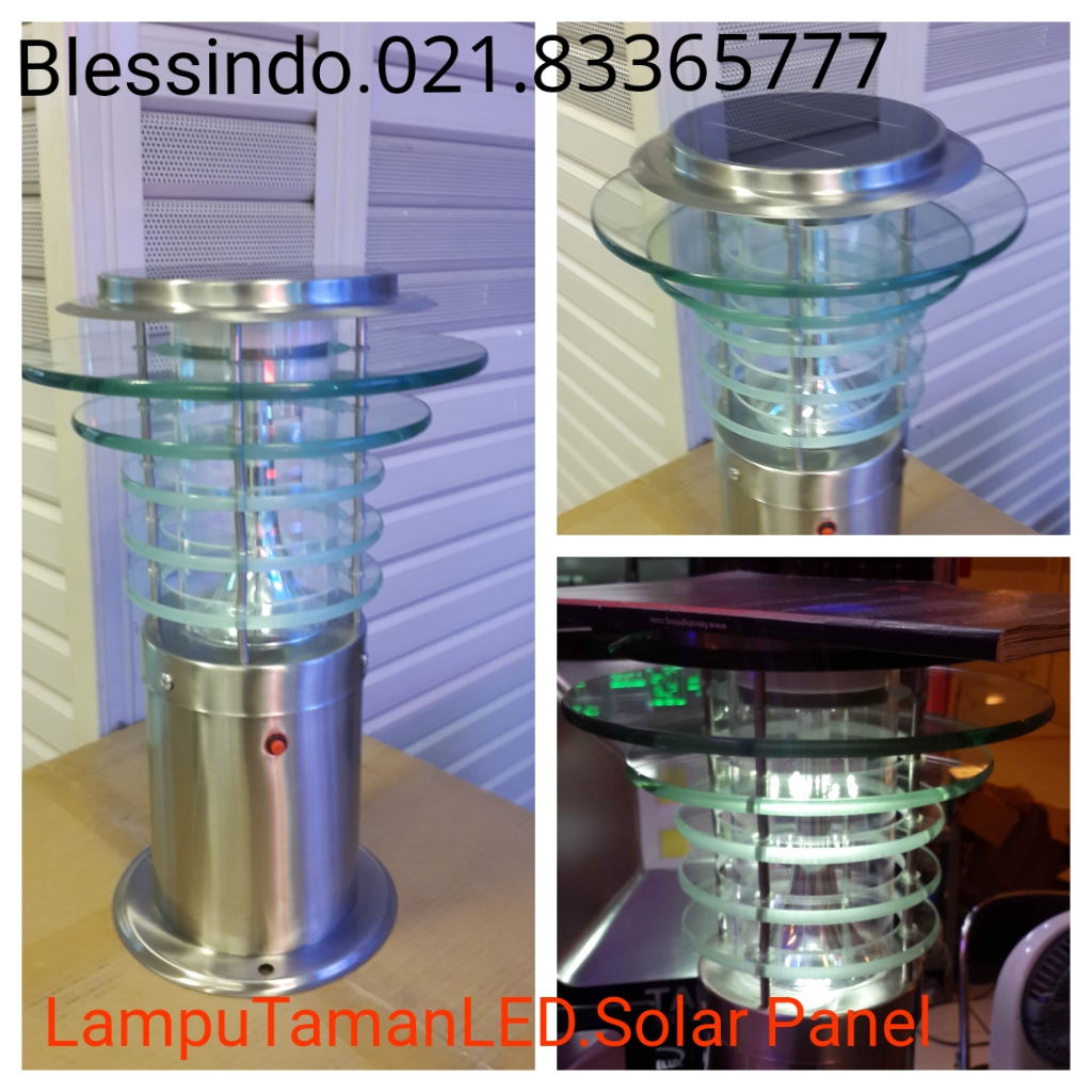 Lampu taman Led dengan solar panel all in one