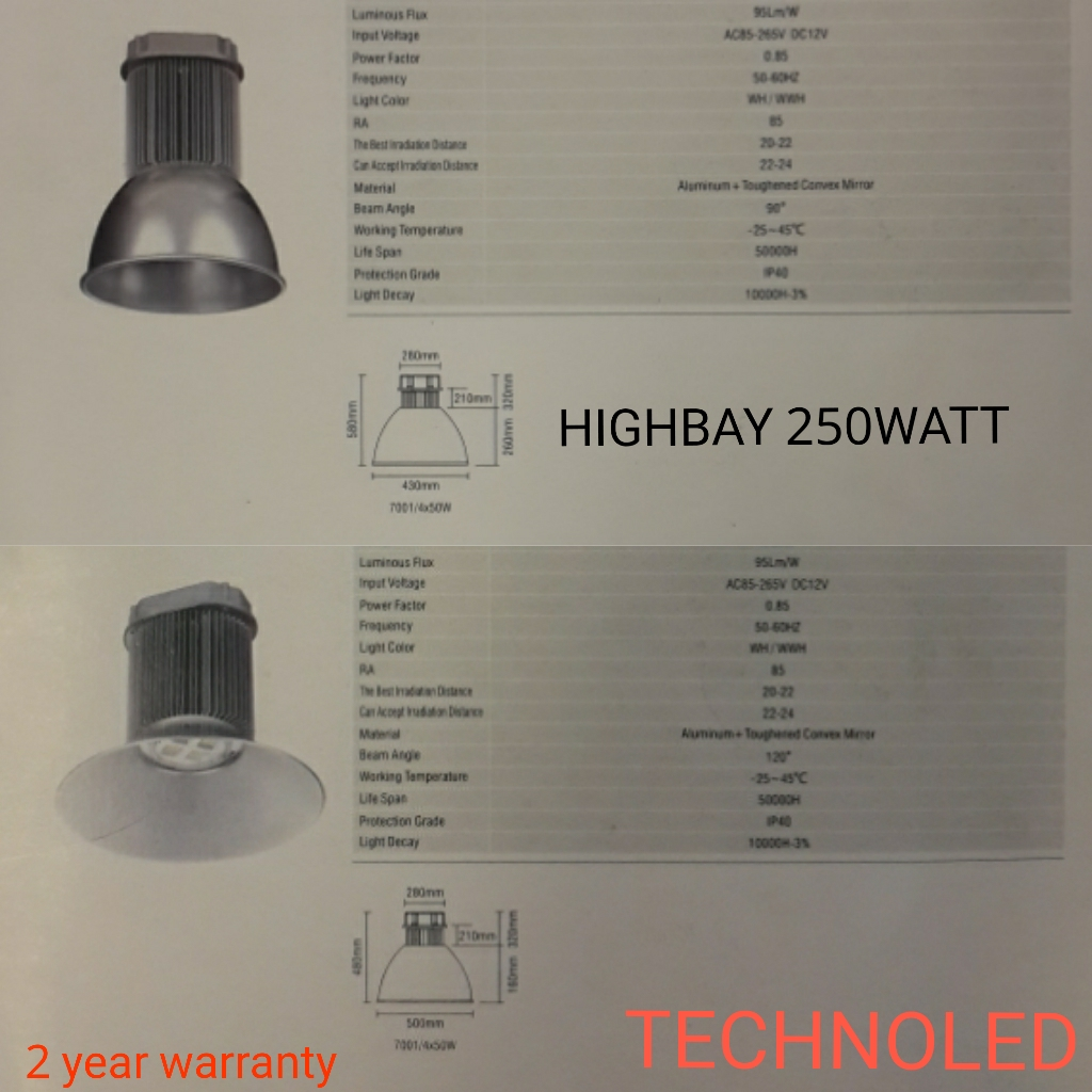 Lampu  industri led atau highbay 250watt merk Technoled